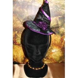 Chapeau serre-tête violet.