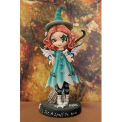 Petite elfe sorcière gothique bleue/verte.