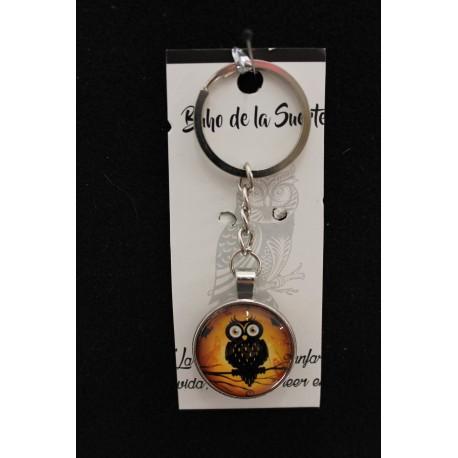 Porte clefs hibou effet loupe, hibou sur une branche messager et mystique.