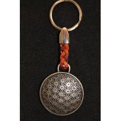 Porte clefs fleur de vie, protection, en fer et cuir tressé.