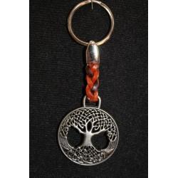 Porte clefs arbre de vie pour protéger en cuir et en métal.